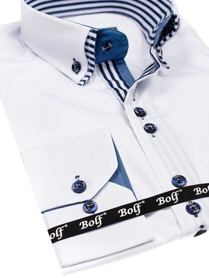 Bolf Herren Hemd Langarm Elegant Weiß 4703