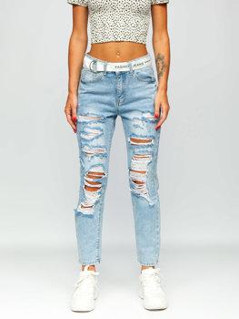 Bolf Damen Jeanshose mit Gürtel Azurblau  BS502