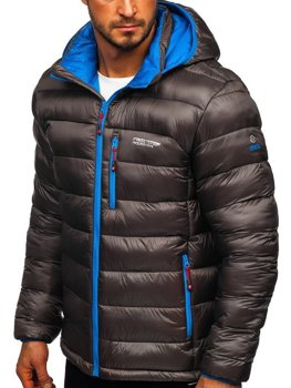 Bolf Herren Geposterte Winterjacke Sport Jacke Schwarzgrau  BK145
