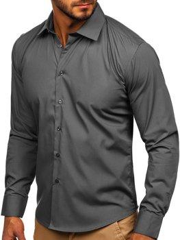 Bolf Herren Hemd Elegant Langarm Braun  0001