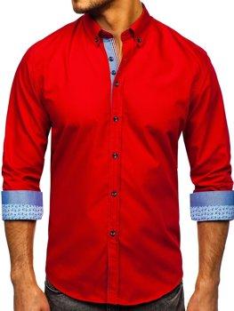 Bolf Herren Hemd Elegant Langarm Rot 8838-1