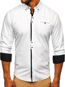 Bolf Herren Hemd Elegant Langarm Weiß  7720