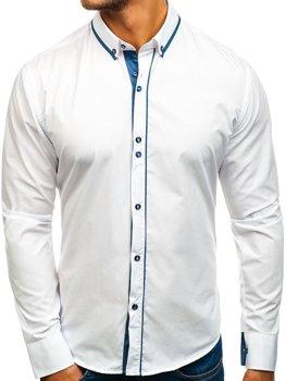 Bolf Herren Hemd Elegant Langarm Weiß  8823