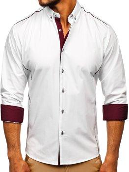 Bolf Herren Hemd Elegant Langarm Weiß-Weinrot  5722-1