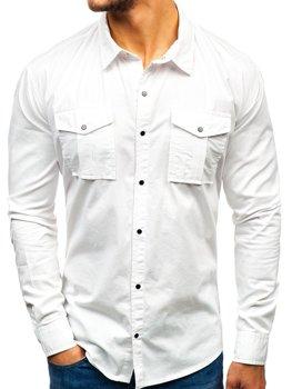 Bolf Herren Hemd Langarm Weiß 2058-1