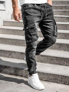 Bolf Herren Jeanshose Jogger Pants Cargohose Schwarz  K10005