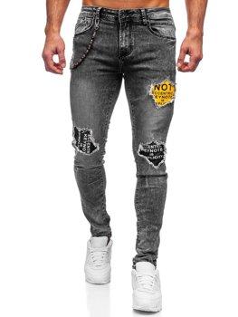 Bolf Herren Jeanshose slim fit mit Gürtel Grau 61003S0