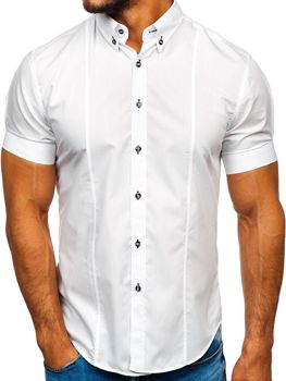 Bolf Herren Kurzarm Hemd Weiß  5528