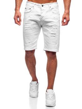 Bolf Herren Kurze Hose  Jeans Shorts Weiß  3030-1