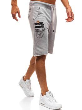 Bolf Herren Kurze Sporthose Grau  A9601
