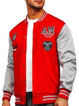 Bolf Herren Leichte Sweatshirt-Jacke ohne Kapuze College Baseball Jacke Rot  B10155