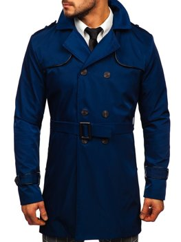 Bolf Herren Mantel Trenchcoat Zweireihig mit Stehkragen und Gürtel Schwarz 0001
