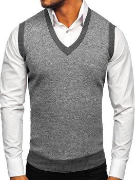 Bolf Herren Pullover Ärmellos Grau  8131