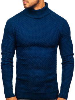 Bolf Herren Pullover Rollkragen Blau  322