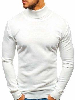 Bolf Herren Pullover Rollkragen Weiß  2400