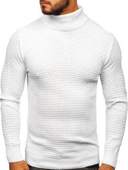 Bolf Herren Pullover Rollkragen Weiß  323