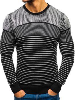 Bolf Herren Pullover Schwarz-Weiß  1015