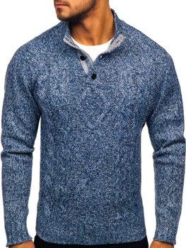 Bolf Herren Pullover mit Stehkragen Blau  P088