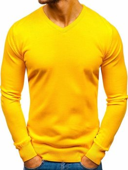 Bolf Herren Pullover mit V-Ausschnitt Gelb  2200