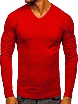 Bolf Herren Pullover mit V-Ausschnitt Rot  YY03