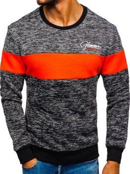 Bolf Herren Swatshirt ohne Kapuze mit Motiv Orange  KS1895