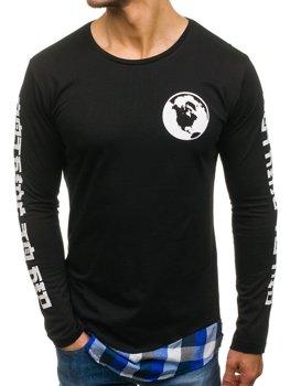 Bolf Herren Sweatshirt mit Motiv Schwarz-Blau 0778