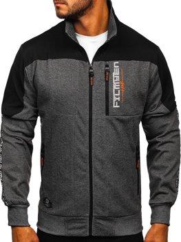 Bolf Herren Sweatshirt mit Motiv mit Reißverschluss Schwarzgrau-Orange  TC1032