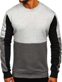Bolf Herren Sweatshirt ohne Kapuze Grau  KS2222