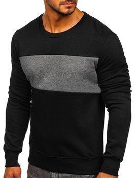 Bolf Herren Sweatshirt ohne Kapuze Schwarz-Schwarzgrau  2020
