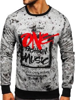 Bolf Herren Sweatshirt ohne Kapuze mit Motiv Grau DD637