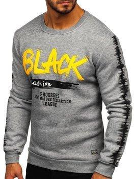 Bolf Herren Sweatshirt ohne Kapuze mit Motiv Grau  HY604