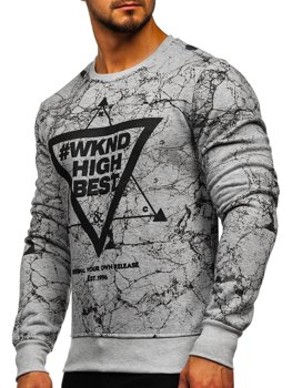 Bolf Herren Sweatshirt ohne Kapuze mit Motiv Grau  J40