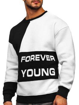 Bolf Herren Sweatshirt ohne Kapuze mit Motiv Schwarz-Weiß  0002