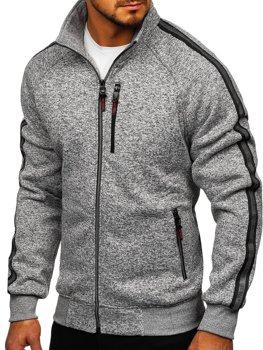 Bolf Herren Sweatshirt ohne Kapuze mit Reißverschluss Grau  TC1001