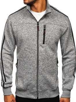 Bolf Herren Sweatshirt ohne Kapuze mit Reißverschluss Grau  TC977