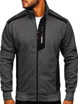 Bolf Herren Sweatshirts mit Reißverschluss mit Motiv Schwarzgrau-Orange  TC1019