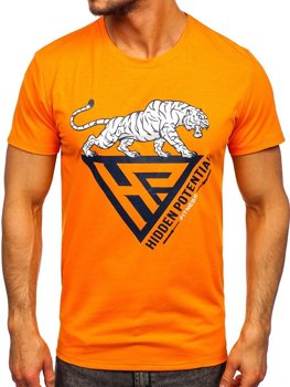 Bolf Herren T-Shirt mit Moiv Orange  Y70013