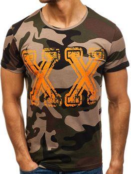 Bolf Herren T-Shirt mit Motiv Camo-Grün  2100