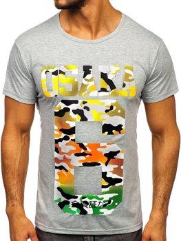 Bolf Herren T-Shirt mit Motiv Grau  KS1958