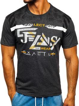Bolf Herren T-Shirt mit Motiv Schwarzgrau  14227