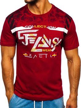 Bolf Herren T-Shirt mit Motiv Weinrot  14227
