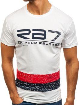 Bolf Herren T-Shirt mit Motiv Weiß  0008