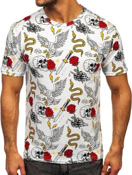 Bolf Herren T-Shirt mit Motiv Weiß  14900