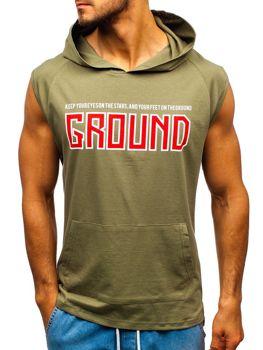 Bolf Herren T-Shirt mit Motiv und Kapuze Grün  2859