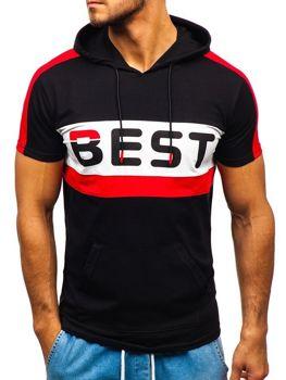 Bolf Herren T-Shirt mit Motiv und Kapuze Schwarz  5798
