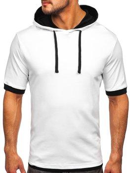 Bolf Herren T-Shirt ohne Motiv mit Kapuze Weiß  08