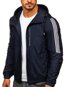 Bolf Herren Übergangsjacke Sport  Jacke mit Kapuze Dunkelblau  6172