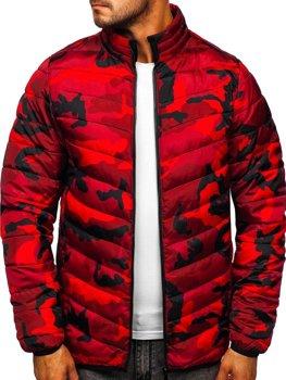 Bolf Herren Übergangsjacke Sport Jacke mit Steppmuster Camo-Rot  SM32