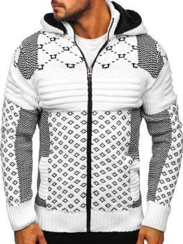 Bolf Herren Warmer Pullover mit Kapuze Aufknöpfbar Jacke Weiß  2060