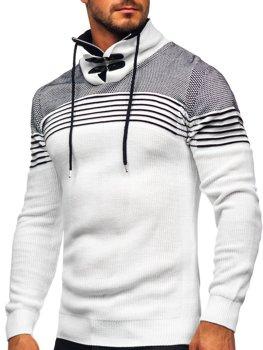Bolf Herren Warmer Pullover mit Stehkragen Weiß  1039